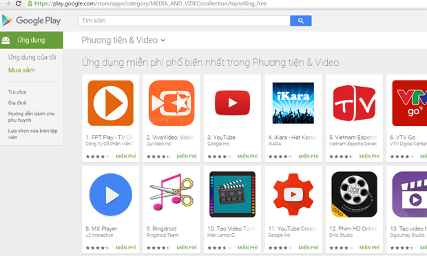 Succeeding against Youtube, FPT Play becomes No. 1 free app for Android devices
